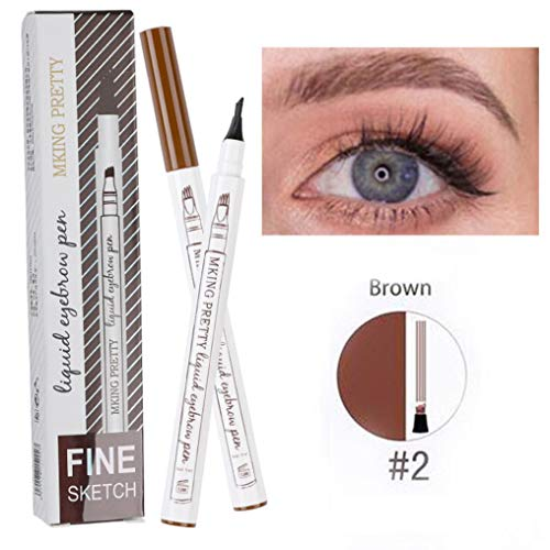 Fork Tip Microblading Eyebrow Tattoo Tint Pen Fine Sketch Liquid Enhancer Pencil Waterproof (B)