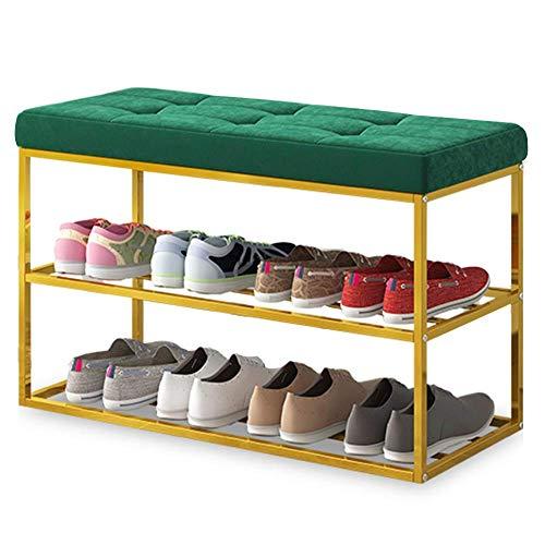 Zapato Rack Seat Cambio de Asiento de Zapato/Zapatero Rack Bastidor de Acero Almohadilla de Algodón Grueso Almacenamiento Durable Cambio de Zapatos / 5 Colores / 2 Tamaños Reposapiés Multifuncional