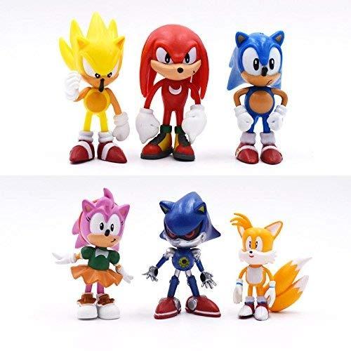 Sonic 6 figuras de juguete decoración para tarta decoración bolsa de fiesta relleno de nudillos colas