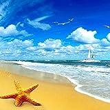 Benutzerdefinierte Strand Landschaft Starfish Blue Sky 3D Foto Hintergrund Computer Gedruckt Wohnzimmer Tv Fotografie Hintergrund Wandbild Tapete 200cm(W) x140cm(H)
