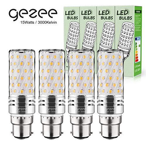 Gezee LED Silber Mais Glühbirnen B22 15W 120W Entspricht Glühbirnen Nicht dimmbar 3000K Warmweiß 1500Lm Kleine Edison-Schraube Kerze Leuchtmittel (4er-Pack)