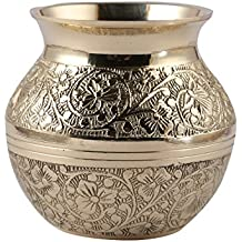 Aatm Brass Embossed Lota Traditional Kalash Handicraft for Decoration and Gift