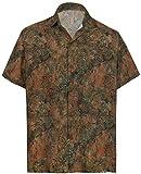 HAPPY BAY Hombres Camisa Hawaiana botón del Cuello hacia Abajo Marrón_AA5 L - Pecho Contorno (in cms) : 111-121