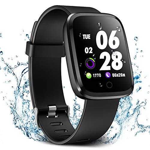 Verpro Bluetooth Smartwatch Wasserdicht Fitness Uhr, Fitness Tracker Sport Uhr mit Schrittzähler und Pulsmesser, Intelligente Armbanduhr für Herren Damen, Schwarz
