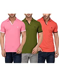 Youthen Cotton Polo Neck T-Shirt - Baby Pink,Jamacain Green & Salmon