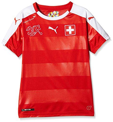 PUMA Kinder Trikot Suisse Home Replica Shirt, Red/White, 128, 748747 01