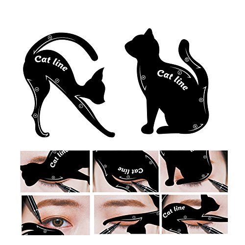 Shadow Smoky Eye (2 in 1 Cat and Smokey Stencil Cat Eyeliner Template Eyeliner Make-Up Template Tool PVC Smoky Eyeliner Eyeshadow Eye Shadow Applicators Fashion Eye Make Up Tool for Girl Women)