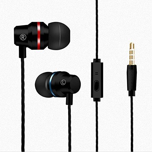 Pinzhi Mega Bass Boost Stereo Verdrahtet Kopfhörer für iPod iPhone Android(Schwarz) -