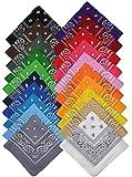 Bandana Halstuch Biker Nikki Tuch Schal Paisley Kopftuch 100% Baumwolle 25 Farben (24er, Gemischt mit unserer Auswahl)