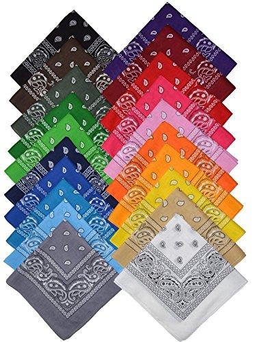 Paisley Bandana (Bandana Halstuch Biker Nikki Tuch Schal Paisley Kopftuch 100% Baumwolle 25 Farben (12er, Gemischt mit Ihrer Auswahl))
