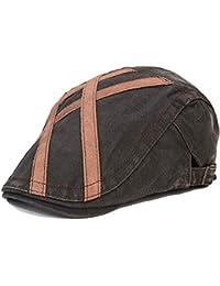 Roffatide Uomo Denim Ricamo Berretti Piatto retrò Vintage Regolabile  Cappello Duckbill 89c2e274cea2
