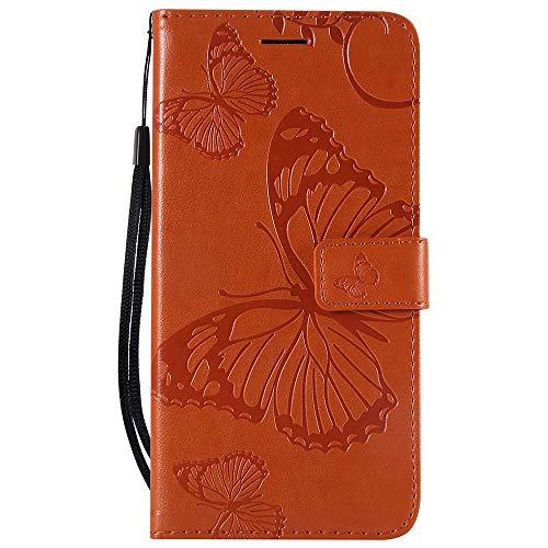 Dfly Caso Mate 20 X, Superior Delgada de La PU en Relieve de Cuero de La Tarjeta de Función Süß Diseño Pata de Cabra Ranuras de Soporte del Funda para Huawei Mate 20 X, Orange