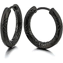 2 Negro Acanalados Círculo Pendientes del Aro, Pendientes para Hombre Mujer, Acero Inoxidable