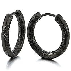 2 Negro Acanalados C rculo Pendientes del Aro Pendientes para Hombre Mujer Acero Inoxidable 12MM