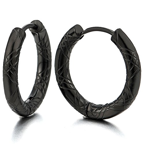 2 Negro Acanalados Círculo Pendientes del Aro, Pendientes para Hombre Mujer, Acero Inoxidable(12MM)