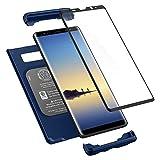 Spigen Thin Fit 360 Serisi Kılıf Galaxy Note 8 ile Uyumlu / Tempered Glass Cam Koruyucu - Deep Sea Blue