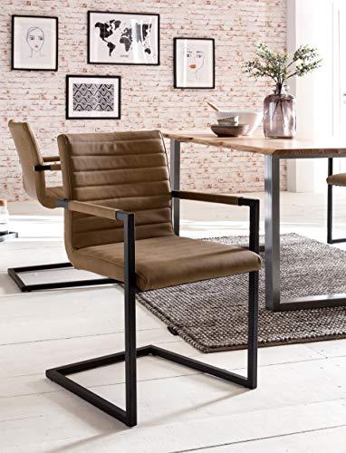 Latte-stühle (SalesFever® Stilvoller Esszimmerstuhl Alessia im 2er Set in Café Latte, Stuhl mit Armlehnen und Kunstleder bezogen, Massive schwarz lackierte Füße)