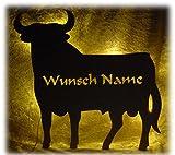 Schlummerlicht24 3d LED Deko aus Wandlampe Figur Motiv Spanien Torro Stier mit Name, Geschenke für Spanier (Stier Torro V1)