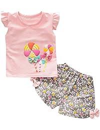 BOBOLover Conjuntos de Ropa para Bebés Niña, Niños de Pequeño Molino de Viento Camiseta Tops + Floral Shorts Pantalones Ropa Conjunto (Rosa, 6-12 Meses(90))