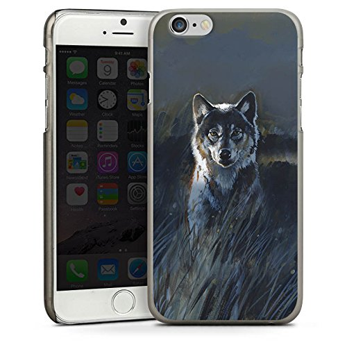 Apple iPhone 5 Housse étui coque protection Loup Nature Sombre CasDur anthracite clair