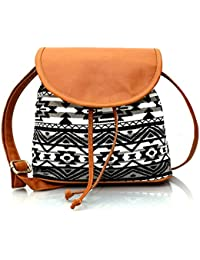 Mabel Tansey Black/White Convas Sling Bag With PU Flap