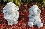 HQ-Beton Manufaktur Niedliche Deko Schafe im Set groß frostfest handbemalt Gartenfiguren für außen Garten Terassen Gartendeko Figuren