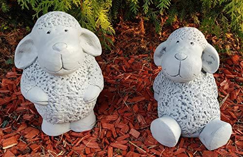 HQ-Beton Manufaktur niedliche Gartenfiguren 2-Set Schafe groß wetterfest Deko Figuren für Garten Terassen außen Ostern Gartendeko