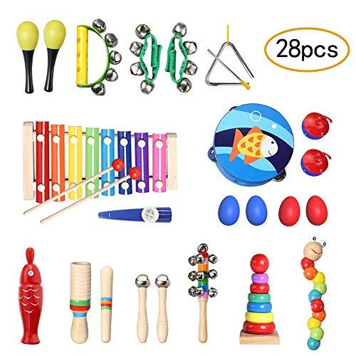 TOPERSUN Regalo del de Niño 28Pcs Juguetes Musicales Instrumentos Musicales Percusión Conjunto de Banda Pequeña