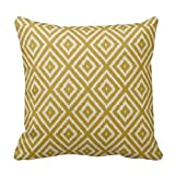 1RHshopstore Ikat Diamond Pattern Mustard Yellow and Cream Sofa Simple Home Decor Design Throw Pillow Case Decor Cushion Covers Square 18x 18 Inches