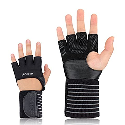 Trideer 3-in-1 Weight Lifting Gloves with GYMNASTIC GRIP, WRIST WRAP