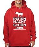 clothinx - Reiten Macht Schön und Arm – Boys Kapuzenpullover Rot, Größe XL