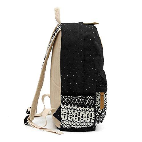 OURBAG Tela Casuale Zaino Borse a tracolla Portafoglio Set 3PCS per le donne Azzurro Black