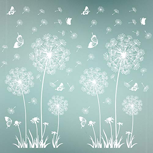 2 Set Wandtattoo Pusteblumen 165X130 cm Schmetterlinge Fliegen im Wind Wandsticker Löwenzahn Blumen Wandsticker Pflanzen Aufkleber-Wand-Deko für Wohnzimmer Garderobe Flur Fenster