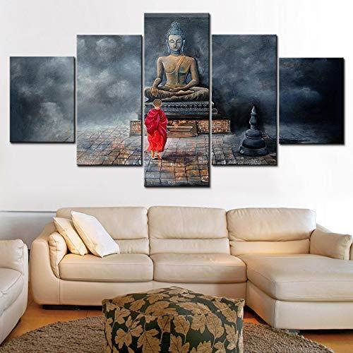 Immagini su Tela modulari Stampe HD con Parete 5 Pannelli Piccolo credente nel Buddismo Soggiorno Decorazioni per la casa Manifesti