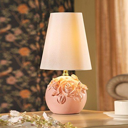 Rose Garden Bar Table (Fu Man Li Trading Company Kreatives Pastoral Nettes Hochzeitszimmer Harz Rosen Schlafzimmer Wohnzimmer Nachttisch Lampe A+ (Farbe : Pink))