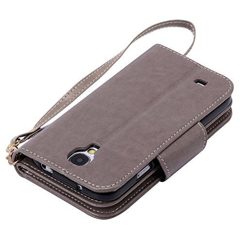 Etui Samsung S6 Edge , Anfire Fille et Papillon Motif Peint Mode PU Cuir Étui Coque pour Samsung Galaxy S6 Edge SM - G925F (5.1 pouces) Housse de Protection Luxe Style Livre Pochette Étui Folio Rabat  Gris