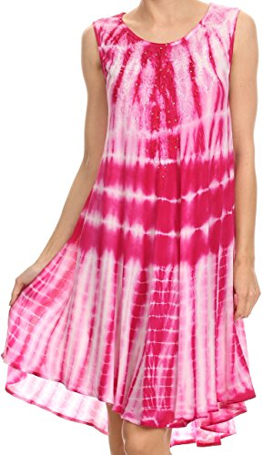 ie Two Tone Bindung gefärbter Behälter-Kleid / Vertuschung mit Stickerei-Ausschnitt - Fuchsia - OS (Importierte Kleider)