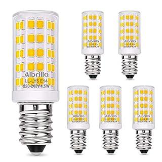 Albrillo E14 LED Lampe Warmweiß 3000K mit 64 SMD LEDs, 4.5W /400LM Glühbirne Ersatz 50W Halogenlampen, 360° Abstrahlwinkel für Kronleuchter, Wandlampe, Kühlschrank und Dunstabzugshaube, 5er Pack