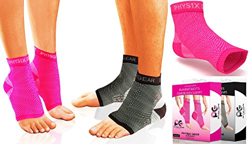 Physix Gear Sport Plantar Fasciitis Socks with Arch Support, BEST 24/7 Foot Care Compression Sleeve, Better than Night Splint, Eases Swelling & Heel Spurs, Ankle Brace Support, Increases Circulation (PINK L/XL)
