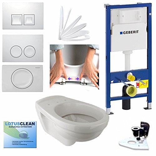 Geberit Duofix Vorwandelement UP 100 + Gustavsberg WC mit LotusClean Beschichtung + Absenkautomatik + Delta 21 Drückerplatte + WC Deckel