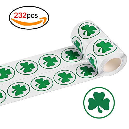y Shamrock Aufkleber (232pcs), Konsait St. Patricks Roll Etiketten Sticker Green Irisches Kleeblatt Geschenk Aufkleber für St. Patricks Day Dekoration Accessoires (Patrick Games)