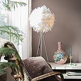 QAZQA Moderne Lampadaire/Lampe de sol/Lampe sur Pied/Luminaire/Lumiere/Éclairage Feather Blanc Métal/Tissu Blanc,Acier Rond/intérieur/Salon