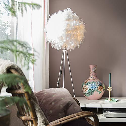 QAZQA Modern Stehleuchte/Stehlampe/Standleuchte/Lampe/Leuchte Feather weiß/Innenbeleuchtung/Wohnzimmerlampe/Schlafzimmer Metall/Textil Rund LED geeignet E27 Max. 1 x 40 Watt -