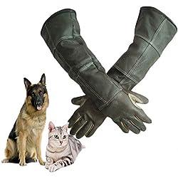 JZDCSCDNS Haustier Anti-Biss Handschuhe Hunde Ausbilden Anti-Katze Nahrung Füttern Tierhandlung, Zoo Pannenprävention Reißfestigkeit Verschleißfest Tier Handschutz Rindleder