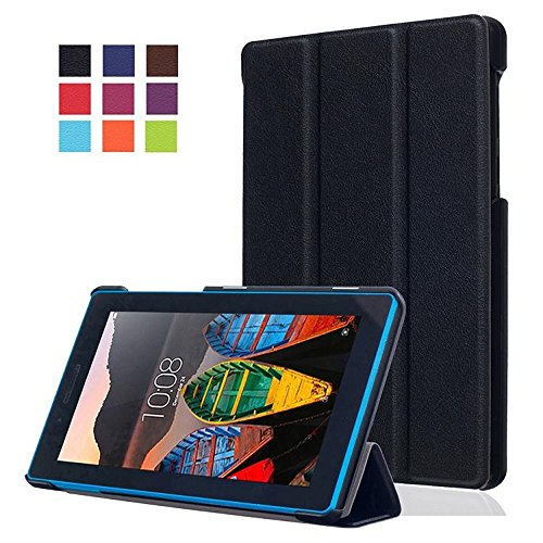 Lenovo Tab3 7 Essential Hülle Case - Ultra Slim Leder Tasche Hülle Etui für Lenovo Tab3 7 Essential / Lenovo Tab3-710F (7 Zoll) Tablet Schutzhülle Smart Case Cover mit Standfunktion (Schwarz)