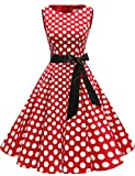 Gardenwed Annata 1950 retrò Rockabilly Polka Vestito da Audery Swing Senza Maniche Abito da Cocktail Partito Red White DOT XS