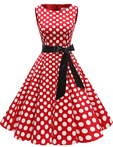 Gardenwed Damen 1950er Vintage Cocktailkleid Rockabilly Retro Schwingen Kleid Faltenrock Red White Dot ()