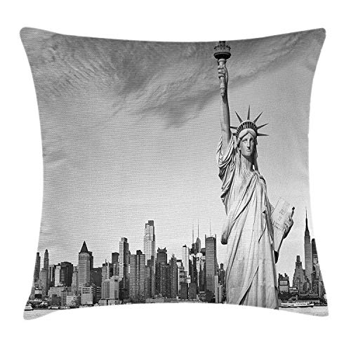 ZMYGH Black and White Decorations Throw Pillow Cushion Cover, Statue of Liberty New York City American Monument, Decorative Square Accent Pillow Case, 18 X 18 Inches, Light Grey Black White