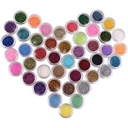 casadeiy 45pcs acrílico polvo de purpurina para uñas Nail Art 3d purpurina profesional uñas Set