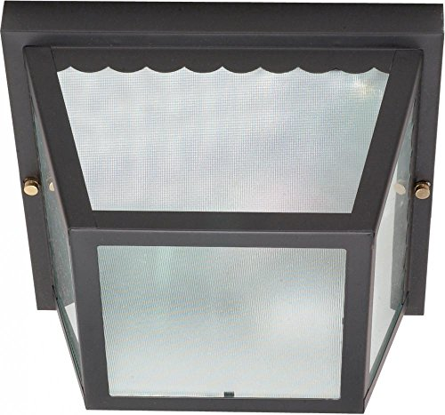 Nuvo 60/473 Metal Frame Carport Flush Mount with Textured Frosted Glass, Black by Nuvo (Metal Textured Frame)